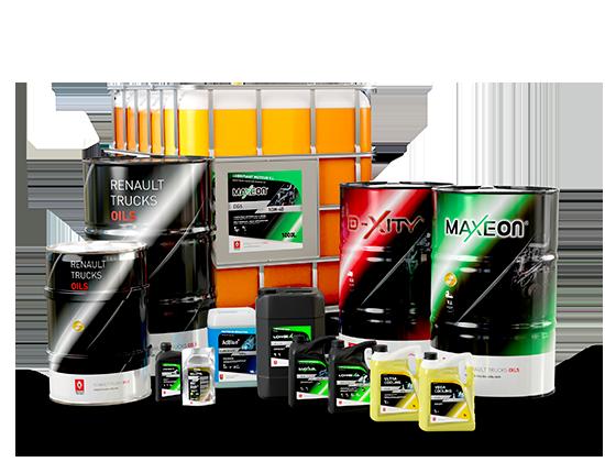 Packshot des produits de maintenance pour poids lourds et utilitaires Renault Trucks Oils